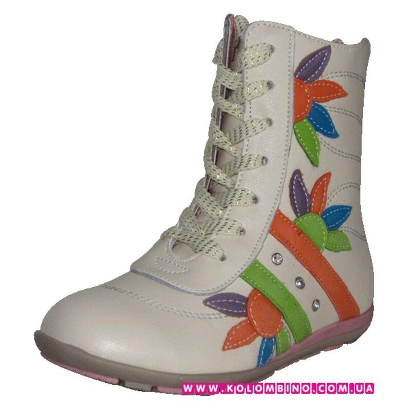 28fd96671 Купить Демисезонные ботинки для девочки Подсолнухи ( кремовые) для ...