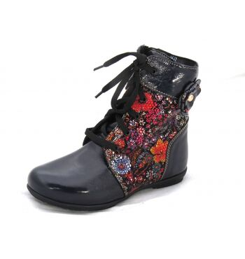 Демисезонные ботинки Ситец синие лак
